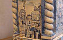 Dettaglio di una stufa decorata a mano 3