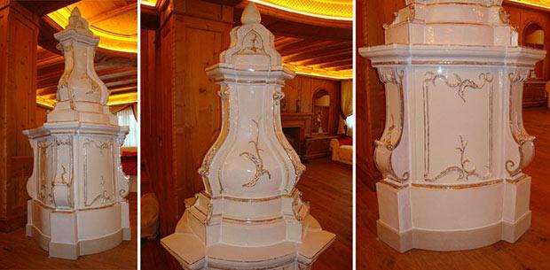Stufa in maiolica classica classica di colorazione chiara - StufArte.it